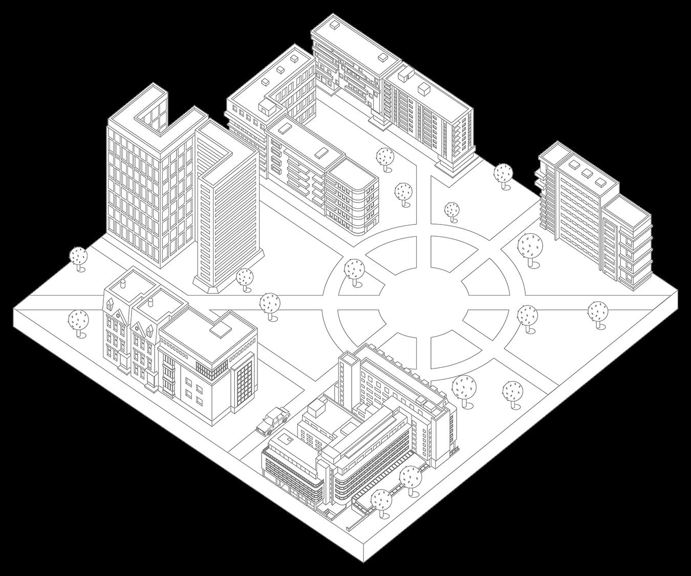 Черно-белое изображение города